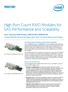 High Port RAID Modules for SAS Performance and Scalability Product Brief