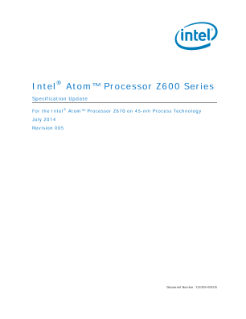 Intel Atom® Processor Z600 Series,Intel Atom® Processor Z600 Series Specification Update,Intel Atom® Processor Z600 Series Specification Update
