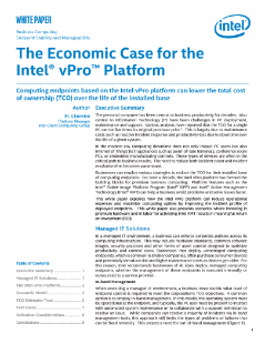The Economic Case for the Intel® vPro™ Platform